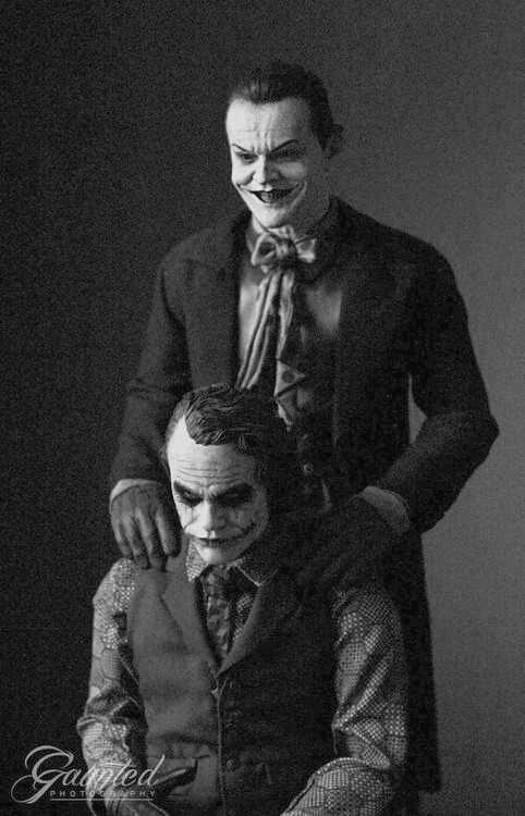 Jack Nicholson and Heath Ledger as the Joker.